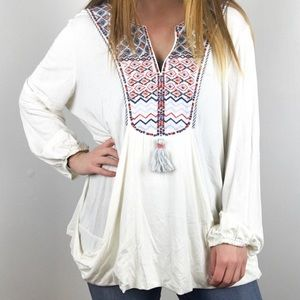 Embroidered tassel front blouse in white